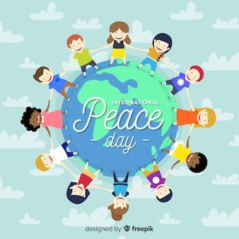Vrede dag achtergrond met kinderen hand in hand rond de aarde