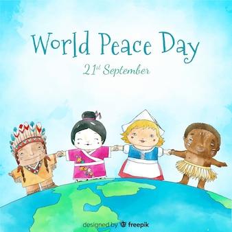 Vrede dag achtergrond met kinderen