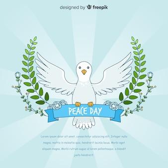 Vrede dag achtergrond met witte duif in de hand getrokken stijl