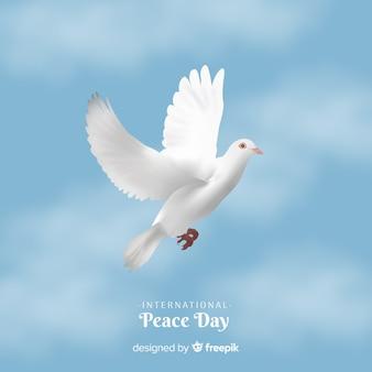 Vrede dag achtergrond met witte duif