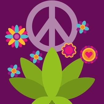 Vrede en liefde plant bloemen vrije geest