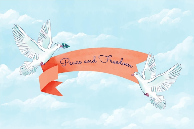 Vrede en vrijheid bericht achtergrond