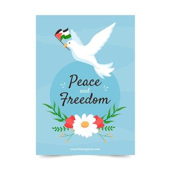 Vrede en vrijheidsboodschap met geïllustreerde duif Premium Vector