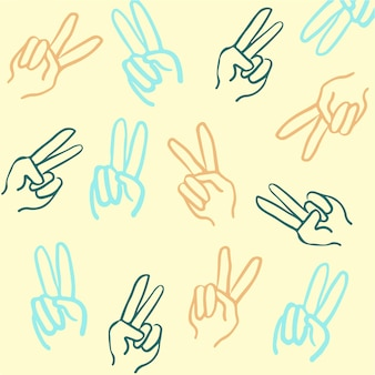 Vrede handgebaar patroon achtergrond vectorillustratie