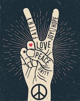 Vrede handgebaar teken met woorden erop. peace love poster concept. vintage stijl illustratie