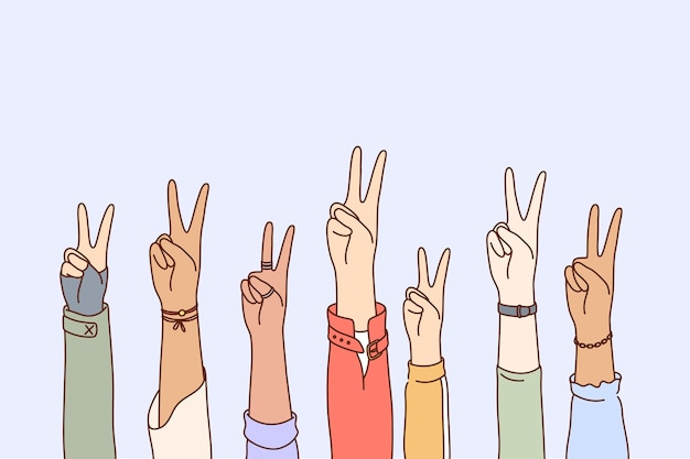 Vrede, protest, pacifisme, multi-etniciteit concept set.
