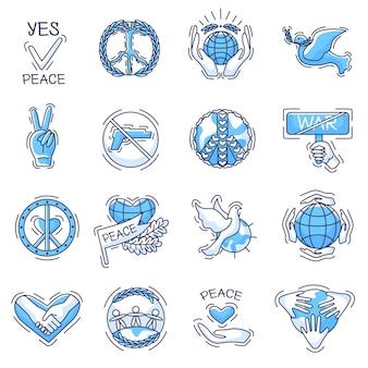 Vrede vector vredig symbool van liefde en vrede of vredeshandhaving ondertekent illustratie set vredelievende symbolen met handen van de wereld en duif geïsoleerd