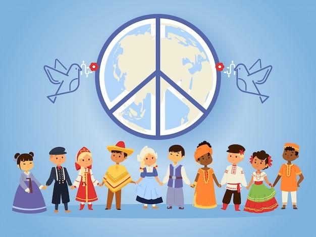 Vrede verenigde naties mensen van verschillende rassen nationaliteiten landen en culturen hand in hand