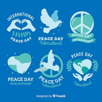 Vredesdag badge collectie plat ontwerp