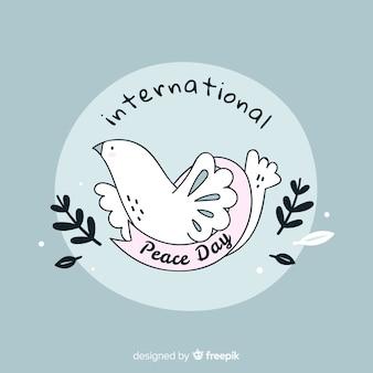 Vredesdag concept met hand getrokken duif