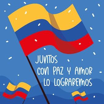 Vredesdemonstratie colombia vlaggen tekst