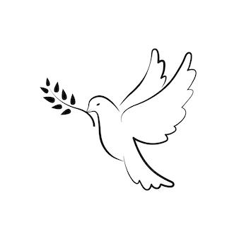 Vredesduif symbool. duif met olijftak. hand getekende duif. vectoreps10
