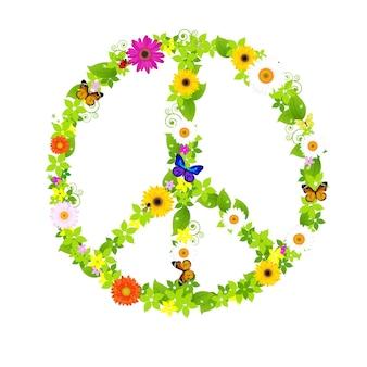 Vredessymbool, op witte achtergrond, illustratie.