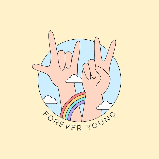 Vredesteken en metalen hand met kleurrijke regenboog en wolkenillustratie voor een gelukkige jeugddagcampagne