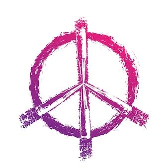 Vredesteken met kogels, t-shirt print, violet op wit
