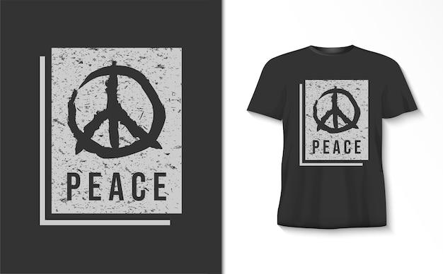 Vredestypografie met symboolt-shirt