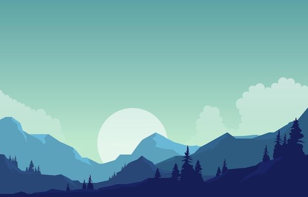 Vreedzaam bergpanorama landschap in zwart-wit vlakke afbeelding