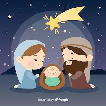 Vreedzame kerststal scène achtergrond