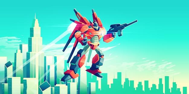 Vreemde strijder, bewapende transformatorrobot die in hemel onder de moderne wolkenkrabbers van de metropool vliegen