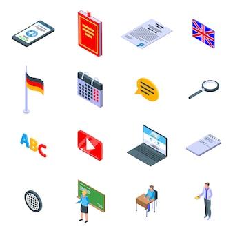 Vreemde taal leraar iconen set, isometrische stijl
