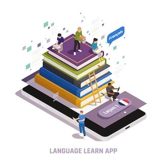 Vreemde taal online leren illustratie