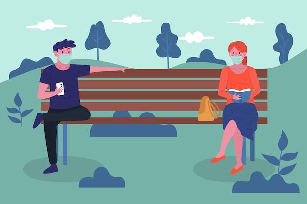 Vreemdelingen die afstand houden in het park