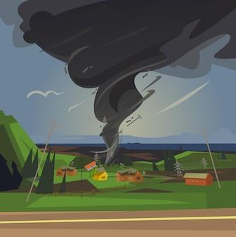 Vreselijke tornado gesponnen huizen cartoon afbeelding