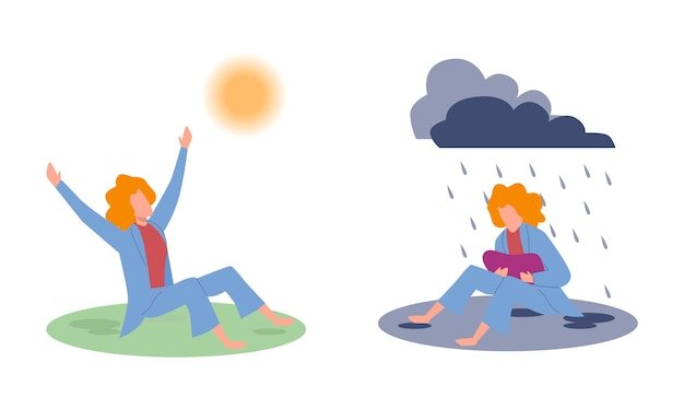 Vreugde en verdriet. treurige vrouw onder regenende wolken en gelukkige vrouw onder zon, negatieve en positieve emoties voor en na psychotherapie, goed of slecht gevoel, cartoon platte vector geïsoleerde illustratie