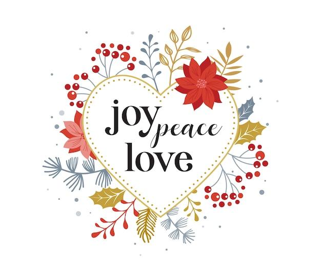 Vreugde, vrede, liefde, merry christmas-kaart met letters op elegante bloemen