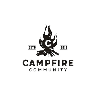 Vreugdevuur camp vuur vlam vintage retro logo