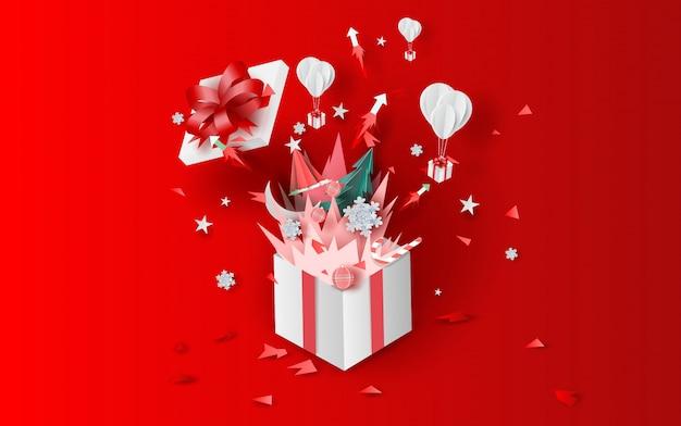 Vreugdevuur kunst kerstmis met geschenkdoos