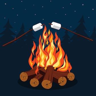 Vreugdevuur met marshmallow - kamperen, brandende houtstapel.