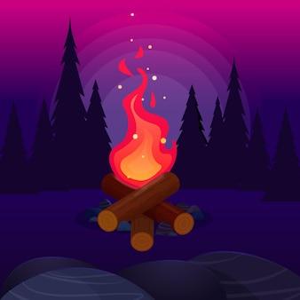 Vreugdevuur met vliegende vonken in het nachtbos. helder kampvuur. platte vectorillustratie