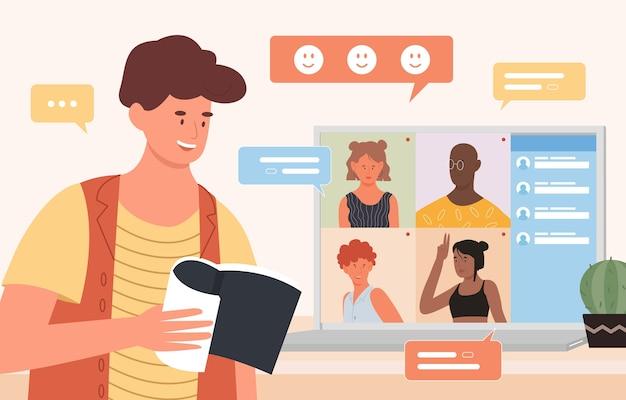 Vriend chatten in videoconferentie-app