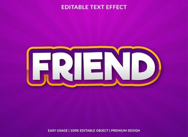 Vriend teksteffect sjabloon met gewaagde stijl