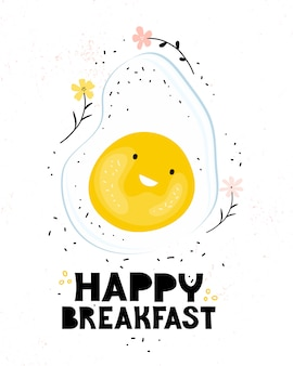 Vriendelijk gebakken ei glimlachend op een witte achtergrond. poster voor kinderen met belettering van gelukkig ontbijt. cartoon karakter grappig eten. gezond ontbijt voor kinderen. hand getekende illustratie