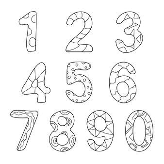 Vriendelijk geschetst cartoon nummers set. tellen, leer de cijfers