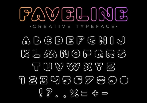 Vriendelijk ontwerp lineair lettertype voor titel, koptekst, belettering, logo, monogram. line art stijl.