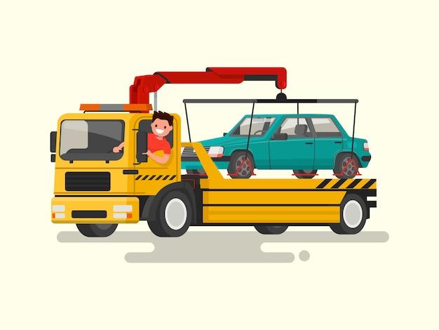 Vriendelijke chauffeur achter het stuur van een sleepwagen. hulp bij de wegillustratie