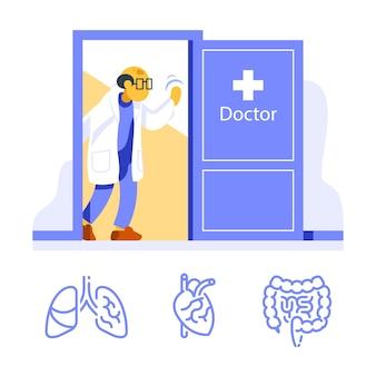 Vriendelijke dokter bij open deur verwelkoming, bezoek specialist, jaarlijkse gezondheidscontrole, medische onderzoekskamer, diagnose van interne organen, procedurediensten en counseling, vlakke afbeelding