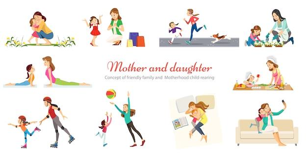 Vriendelijke familie en moederschap opvoeding spelen wandelen met kinderen retro cartoon pictogrammen banners set geïsoleerd