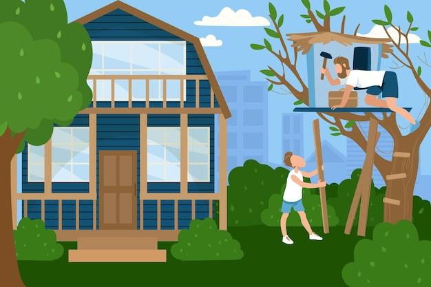 Vriendelijke familie karakter vader met zoon samen tijd doorbrengen met het bouwen van boomhut, landhuis platte vectorillustratie, mensen hobby. concept mannelijke greep hamer construeren houten huisje.