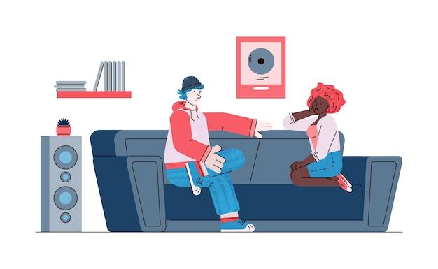 Vriendelijke gesprek mensen hebben dialoog schets vectorillustratie geïsoleerd