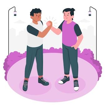 Vriendelijke handdruk concept illustratie