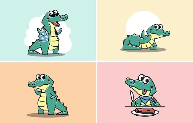 Vriendelijke krokodil alligator zwaaiende hand grappig leuk karakter cartoon mascotte