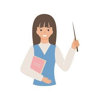Vriendelijke leraar met een wijzer en een glimlach. vlakke afbeelding van een leraar geïsoleerd op een witte achtergrond. vectorkarakter van een schoolwerknemer.