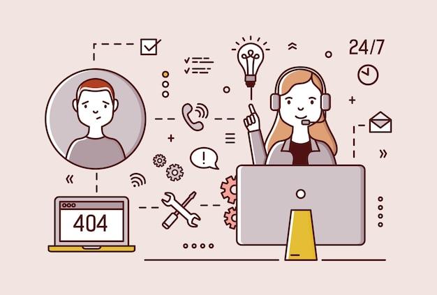 Vriendelijke technische ondersteuningsmanager die hoofdtelefoons draagt die bij computer zitten