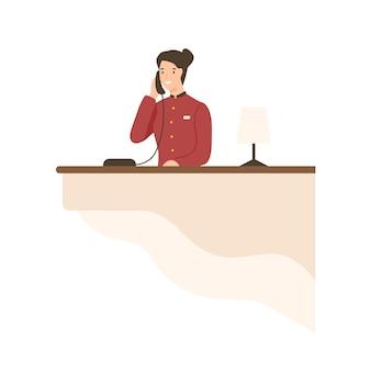 Vriendelijke tekenfilmvrouw die werkt aan de vlakke afbeelding van de hotelreceptie