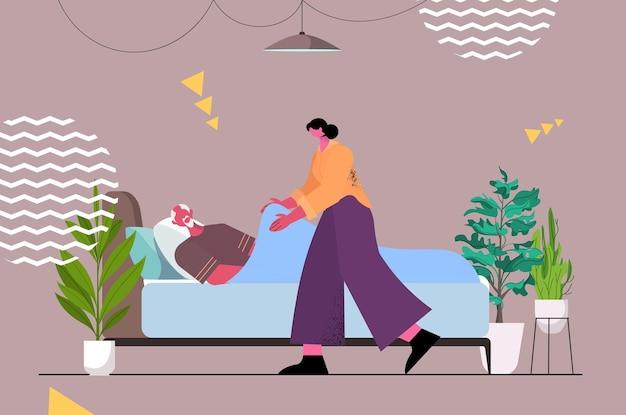 Vriendelijke verpleegster of vrijwilliger ter ondersteuning van oudere man patiënt liggend in bed thuiszorg diensten gezondheidszorg concept horizontale volledige lengte vectorillustratie