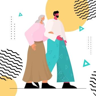 Vriendelijke verpleegster of vrijwilliger ter ondersteuning van oudere vrouw jonge man lopen met grootmoeder volledige lengte vectorillustratie